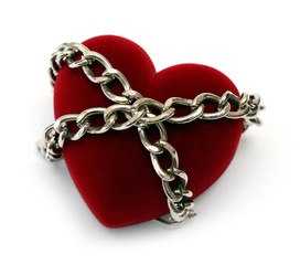 red heart locked with chain isolated on white