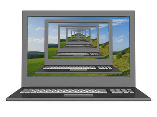 Recursive 3D  image of laptops with a landscape on the screen..
