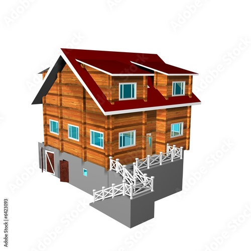 Wooden house on a white background. 3D image.