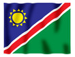Fluttering image of the Namibian national flag.