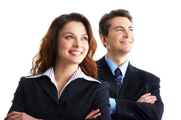 Young smiling  business woman and business man.