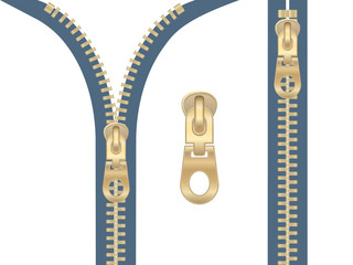 Clip-art of metal zipper zipped and unzipped