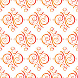 floral seamless repeat tile pattern in orange and red poster