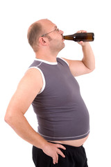 Overweight man with his beer belly sticking out
