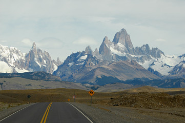 Mounts Fitz Roy and Torre from road to El Chalten.  Argentina.