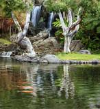 Fototapety Waterfall and koi pond in japanese garden
