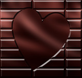 Chocolate with engraved heart poster