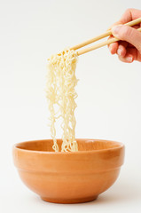 Noodles in bowl.