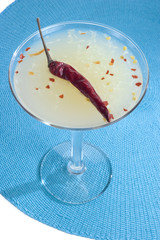 Chili Cosmopolitan on a White and Blue Background