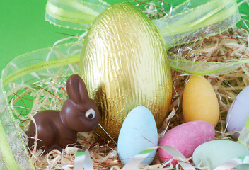 Assortment of chocolate Easter eggs wrapped
