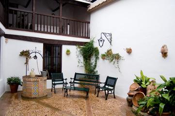 Typical patio from Castilla la Mancha. Posada in Toledo, Spain