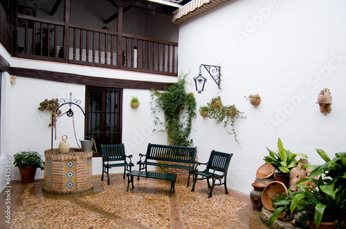 Typical patio from Castilla la Mancha. Posada in Toledo, Spain