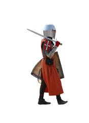 Medieval Knight walking.Isolated