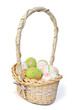 Wicker basket with easter eggs.