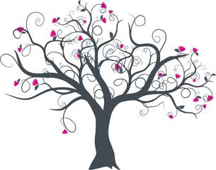 vecteur série - dessin d'arbre à fleurs vectoriel au printemps