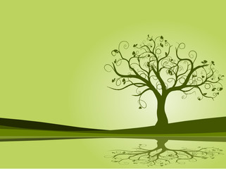 vecteur série - arbre vert à fleurs vectoriel au printemps