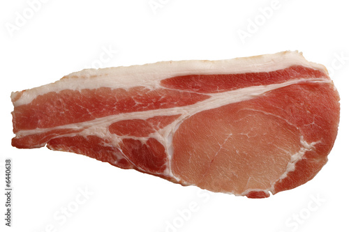 raw slice of bacon on white background with  clipping path