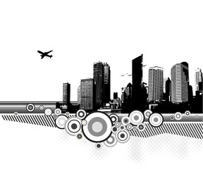 City with circles on white background. Vector