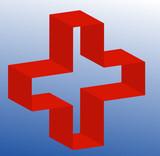 3d medical symbol of gradient blue background  poster