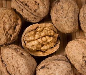 One opened walnut amid others whole nuts