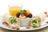 Healthy lunch - vegetarian wrap, fruit salad and orange juice poster