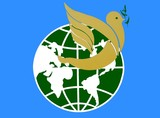 dove of peace carrying olive branch traveling around globe poster