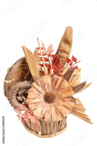 hand made wooden flower at pot isolated