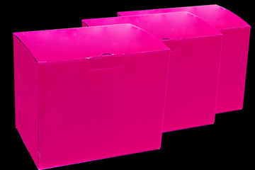 Three Pink Boxes on black bckground