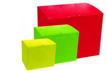 Three Brightly Coloured Boxes