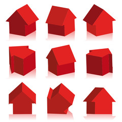 Collection of houses red, icon