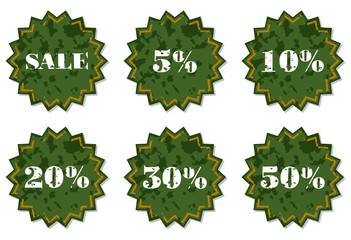 Set of labels for the discount. Vector illustration.