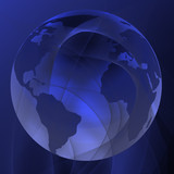 Abstract lines with integrated globe poster