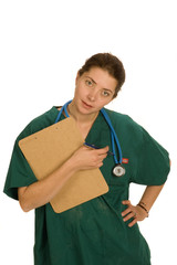 Younf attractive nurse or doctor with chart and stethoscope