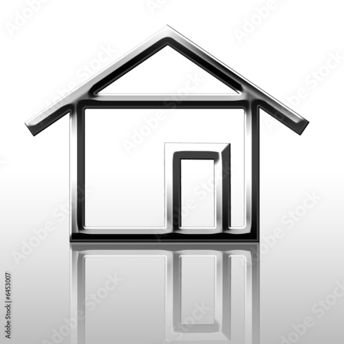 Reflected silver house outline on a white background