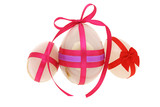 Decorated egg shaped gemstones for Easter on white background poster