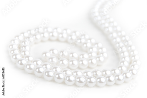 Pearl necklace isolated on white background. - 6453440