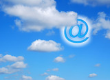 Surreal internet concept of email symbol sign in clouds poster