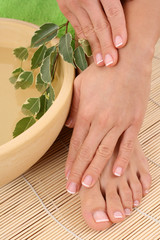 beautiful legs and hands - beauty treatment - bowl of pure water