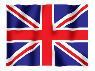 Fluttering image of the British national flag.