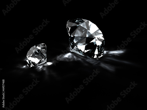 Diamonds with reflections isolated on black. 3D render.