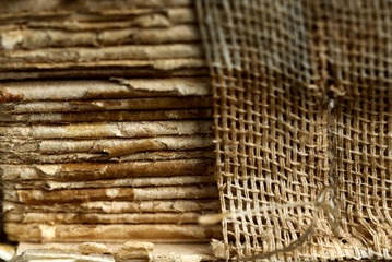 Close-up view of old and dingy book-cover texture