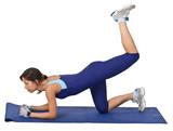 Young brunette doing aerobics on a blue mat. poster