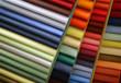 Leinwandbild Motiv Color samples of a fabric in shop