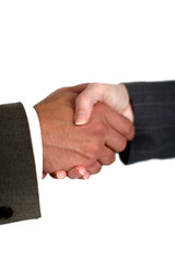 Man and woman shaking hands over a business deal