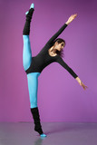 cool girl jumping on the magenta background poster