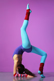 cool girl doing aerobic exercise on a magenta background poster