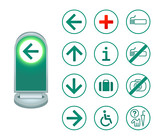 information signs (icon-set) for exhibitions, museums, events poster