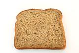 High fiber multi grain whole bread slice isolated on white poster