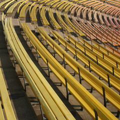 colorful painted benches of stadium seating