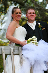 A young couple on their wedding day